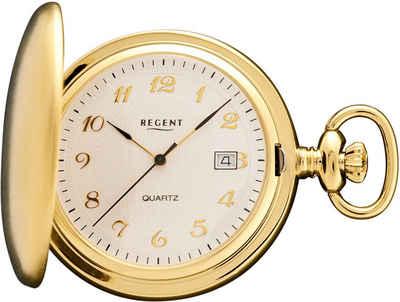 Regent Taschenuhr »URP015 Regent Taschenuhr für Damen Herren P-15«, (Analoguhr), Taschenuhr rund, groß (ca. 44mm), Metall vergoldet, Elegant