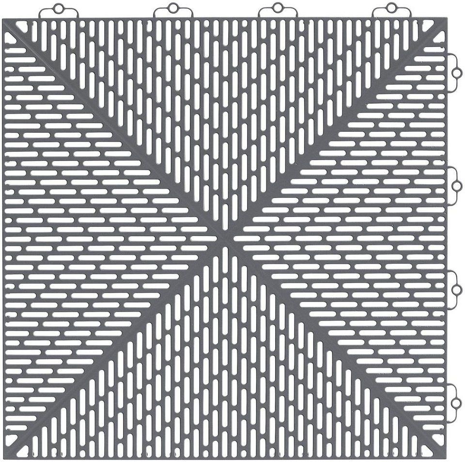 Bodenplatten Set Kunststoff Fliese Unique Steingrau Online Kaufen