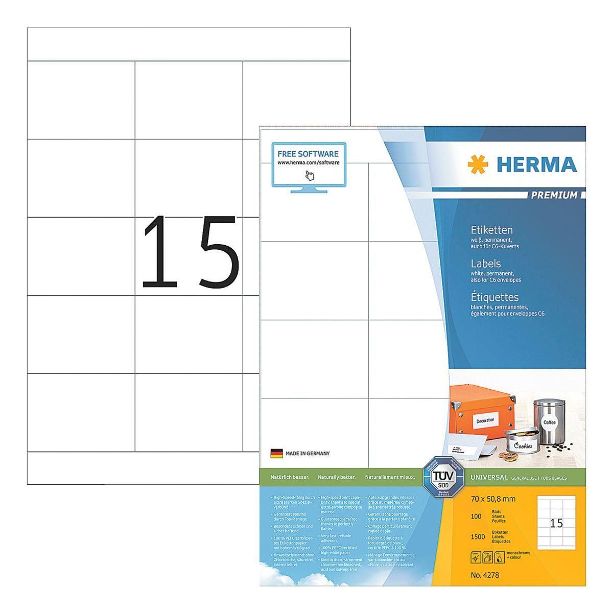 HERMA 1500er-Pack Universal-Klebeetiketten »4278«