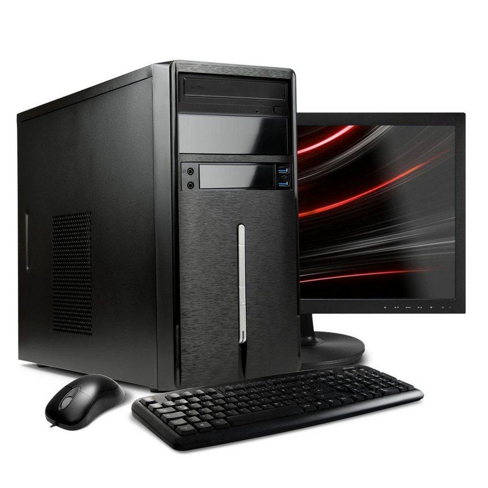 "VCM Multimedia PC Set ""/ Intel Core i3-6100 / »4 GB / Windows 10 / 22"" TFT« in Schwarz"