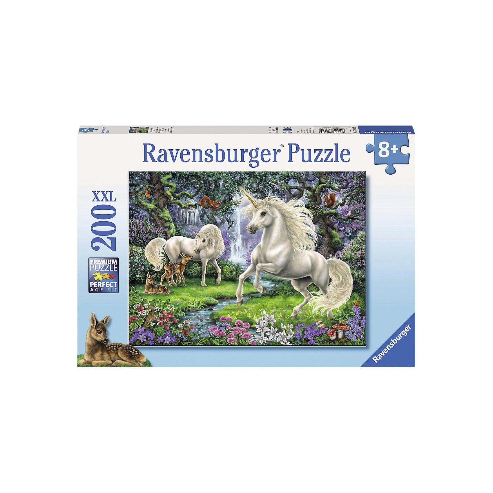 Ravensburger Puzzle, 200 Teile XXL, 49x36 cm, Geheimnisvolle Einhörner
