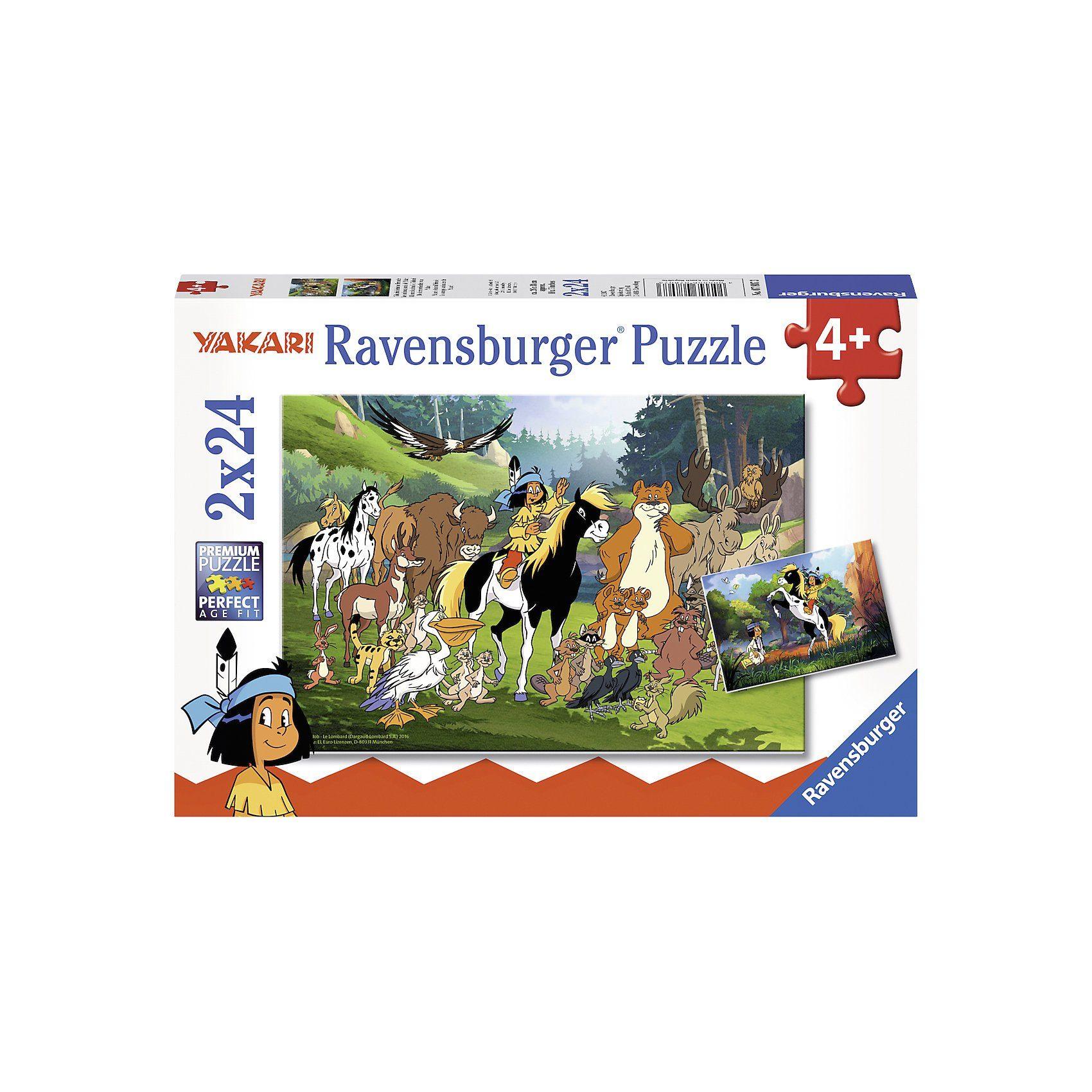 Ravensburger Puzzle 2 x 24 Teile Yakaris tierische Freunde