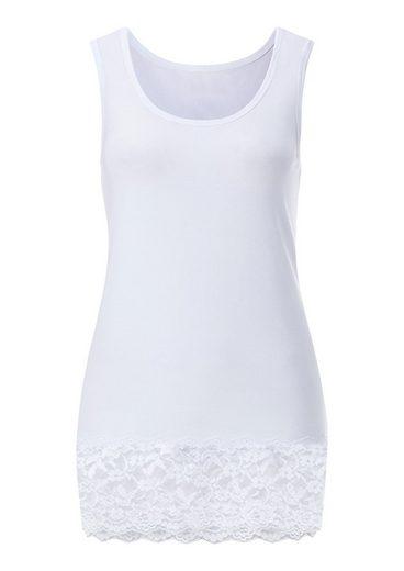 Fair Lady Shirttop mit Spitzenbordüre am Saum