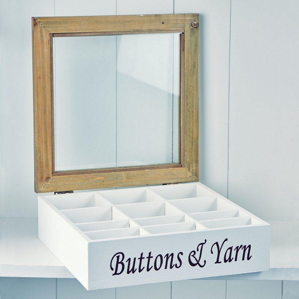 """BUTLERS CAMPAGNE »Aufbewahrungsbox """"Buttons & Yarn"""" mit 12 Fächern« in weiss"""