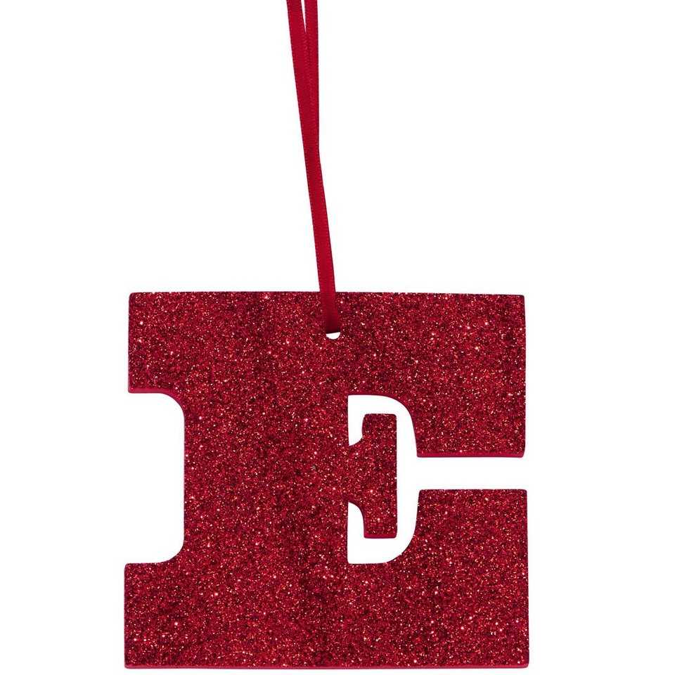 "BUTLERS HAPPY GIFT »Glitzerbuchstabe ""E""« in rot"