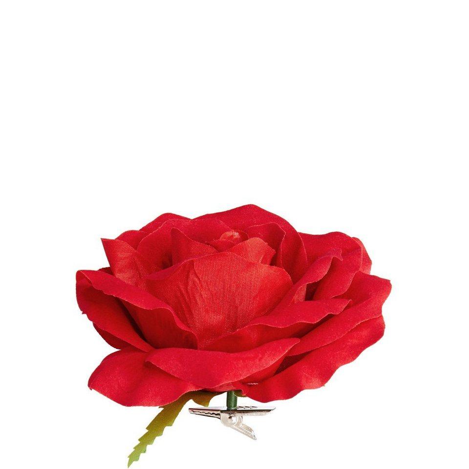 BUTLERS WINTERGREEN »Rosenblüte mit Clip« in rot