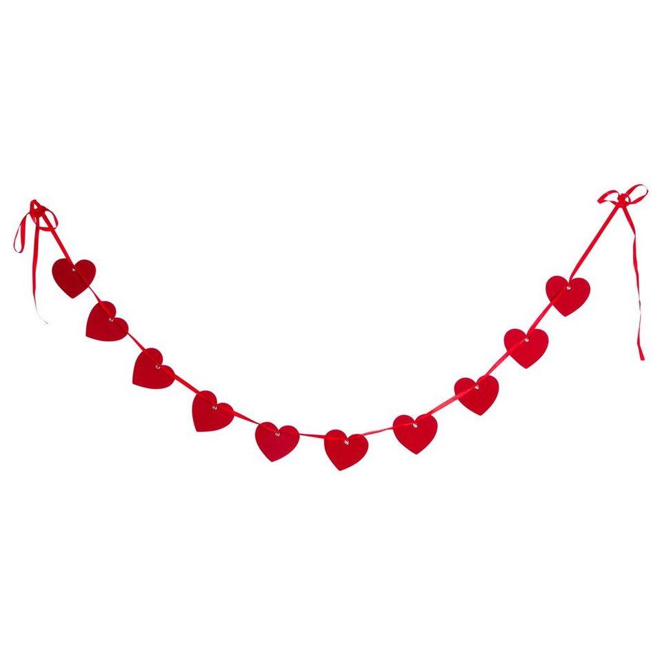 BUTLERS HEART TO HEART »Filzgirlande Herz« in rot