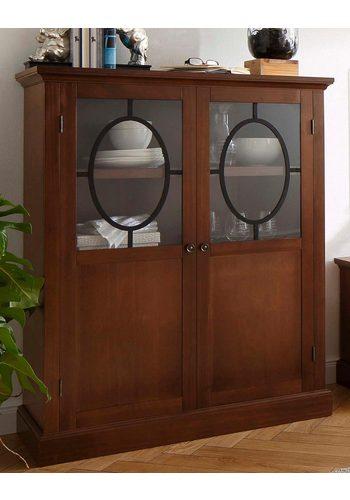 Home affaire Highboard Lugano, Breite 100 cm, Türen mit Glaseinsatz und Eisen-Dekor braun  