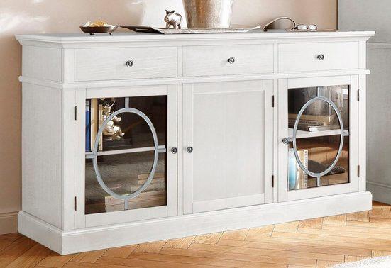 Home affaire Sideboard »Lugano«, Breite 160 cm, mit Glaseinsätzen und Eisen-Dekor