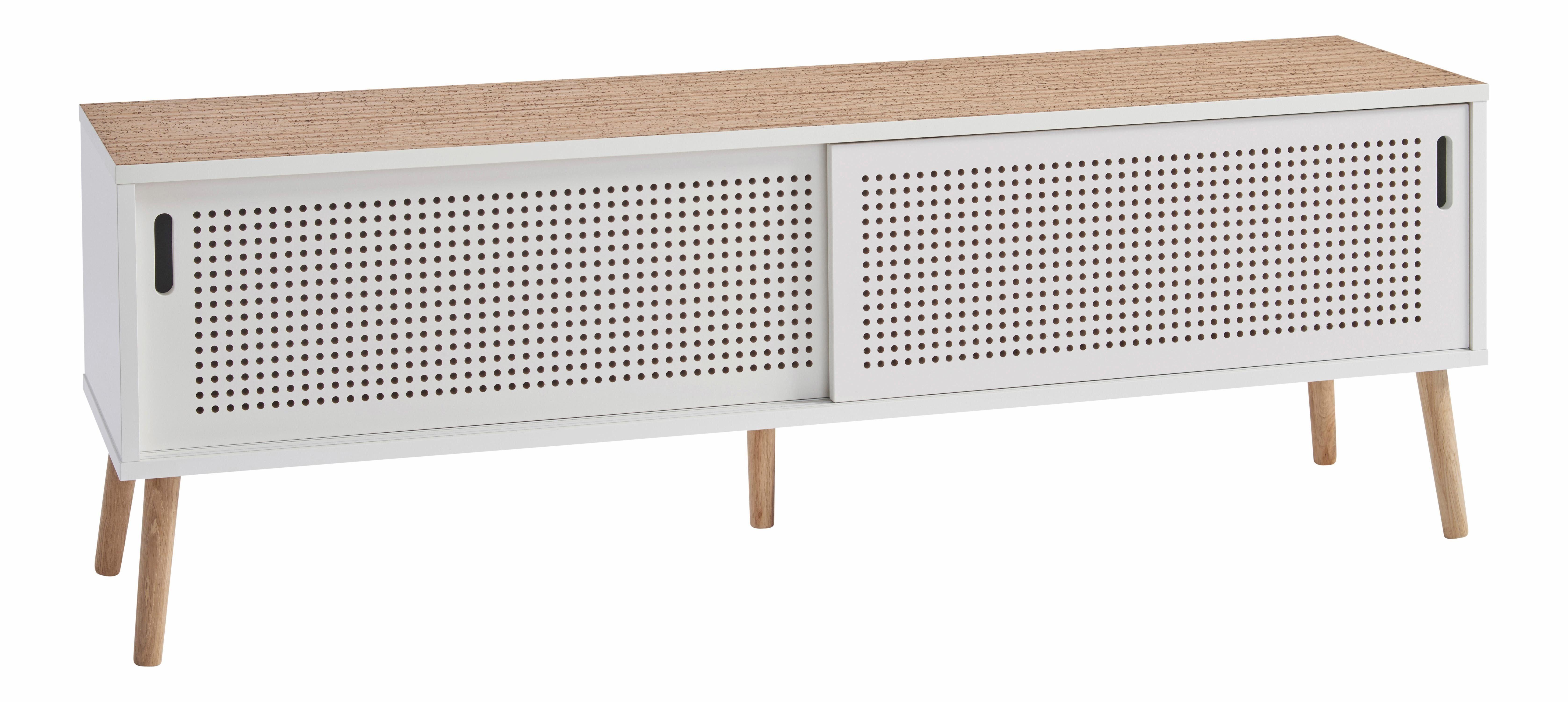 andas Lowboard «Scala», Breite 158 cm, mit 2 Schiebetüren und Naturkork-Topplatte
