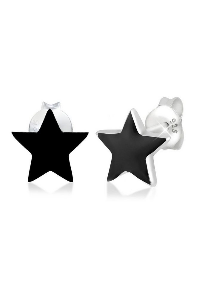 Elli Ohrringe »Stern Sterne Emaille Astro Trend Filigran Silber« in Schwarz