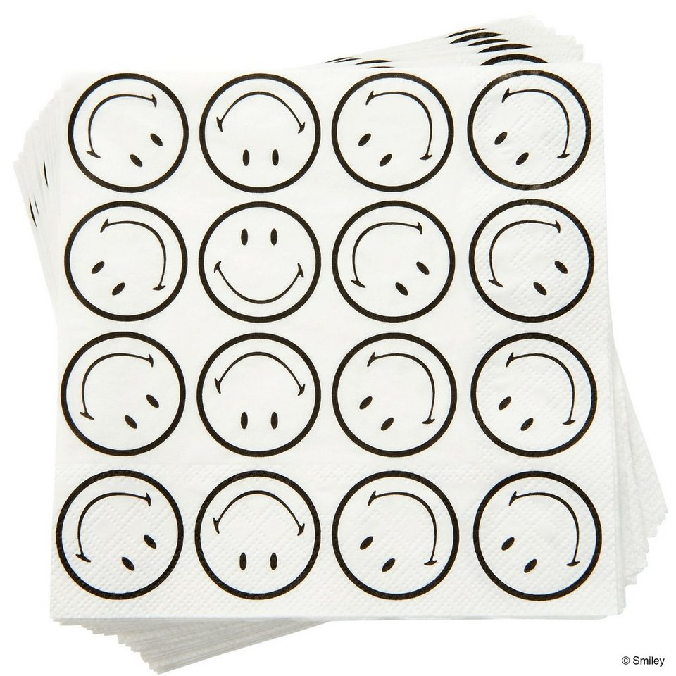 BUTLERS SMILEY »Papierserviette Smiley« in schwarz-weiss