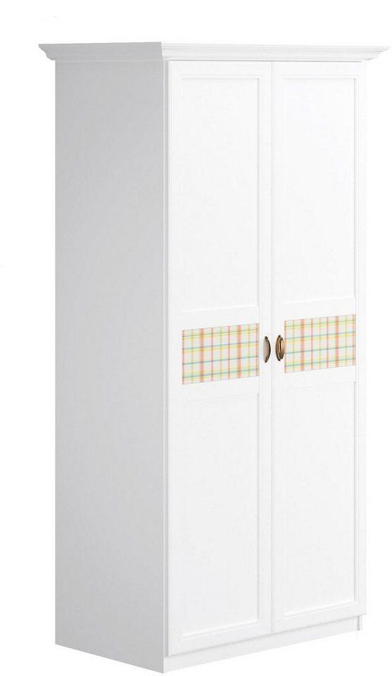 Home affaire Kleiderschrank »Sonya«, in 4 Breiten, mit dekorativen Glaseinsätzen in Karomuster in weiß