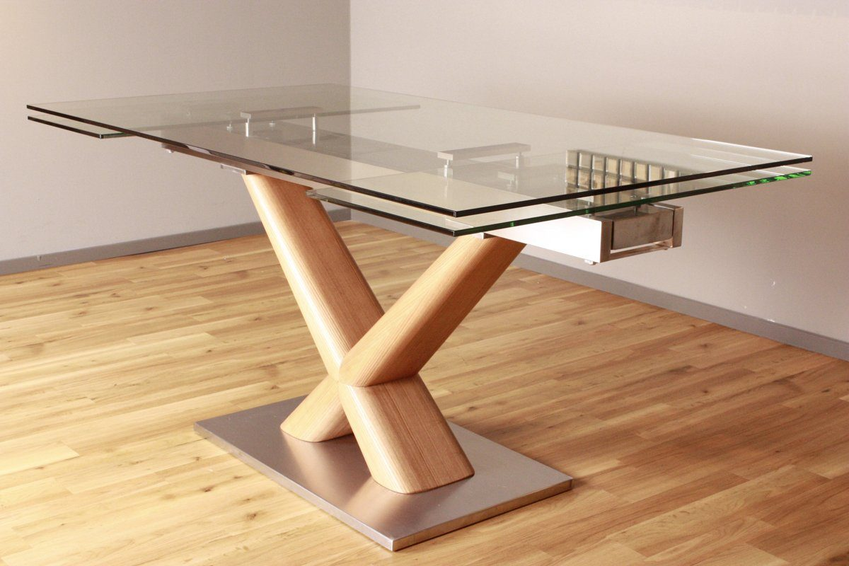 Kasper-Wohndesign Esstisch aus Glas 160cm ausziehbar »GINO«