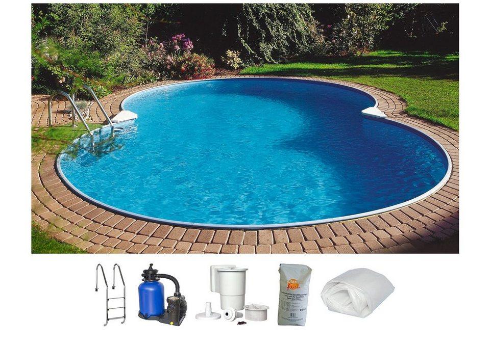 Summer Fun Set: Achtformpool »Standard«, B/L/H: 420/650/120 cm, 6-tlg. in weiß