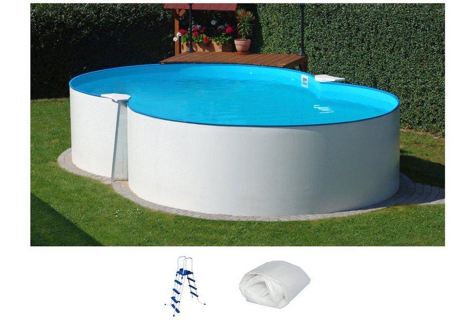 Set: Achtformpool »Standard«, B/L/H: 300/470/90 cm, 3-tlg. in weiß
