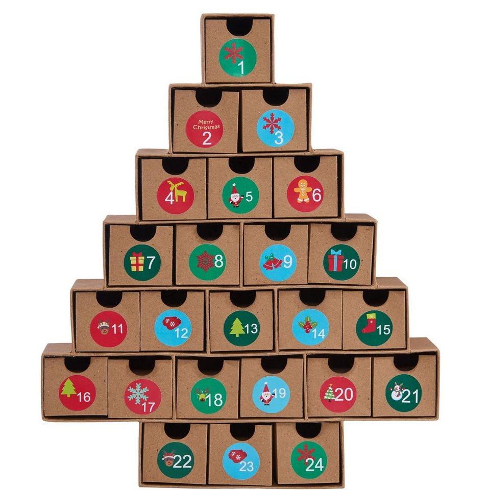 BUTLERS SURPRISE »Adventskalenders in Weihnachtsbaum-Form« in braun-bunt