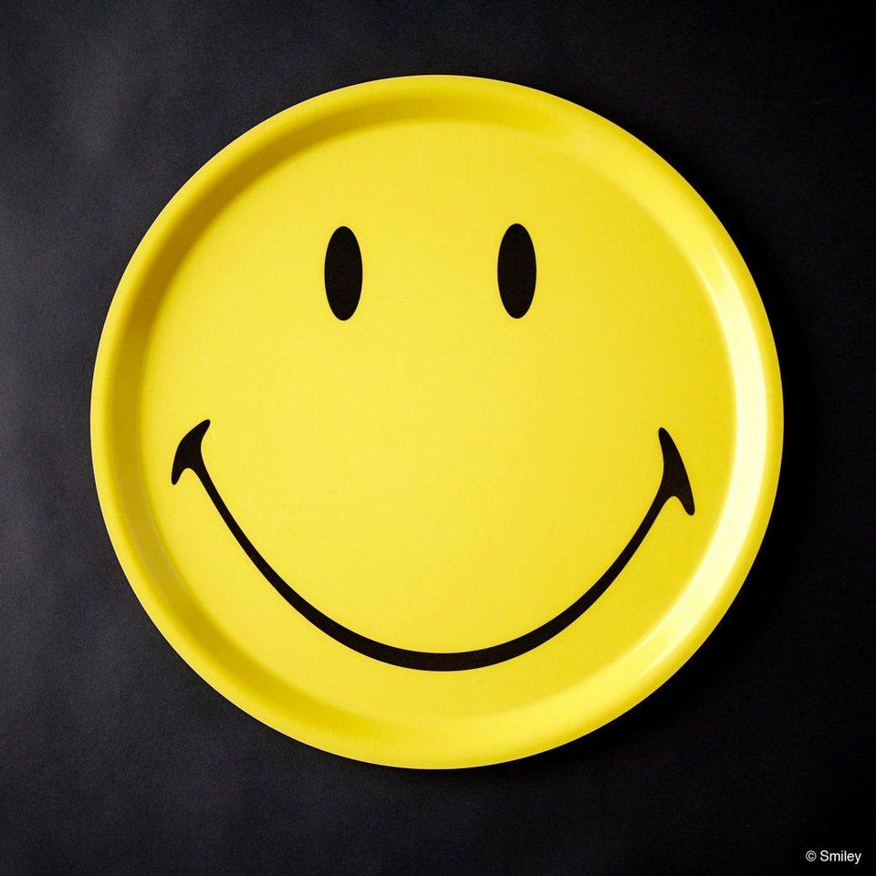 BUTLERS SMILEY »Tablett Smiley rund« in gelb