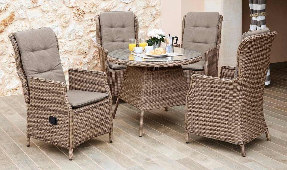 gartenm belset riviera 9 tlg 4 hochlehner tisch 120 cm polyrattan natur online kaufen. Black Bedroom Furniture Sets. Home Design Ideas