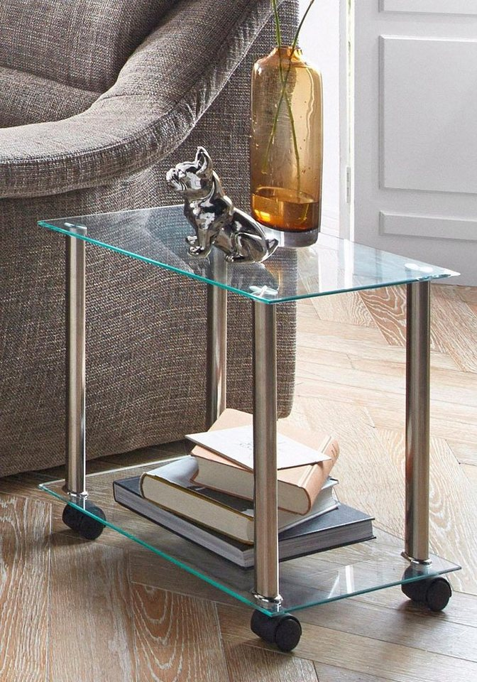 haku haku beistelltisch in moderner glasoptik auf rollen online kaufen otto. Black Bedroom Furniture Sets. Home Design Ideas