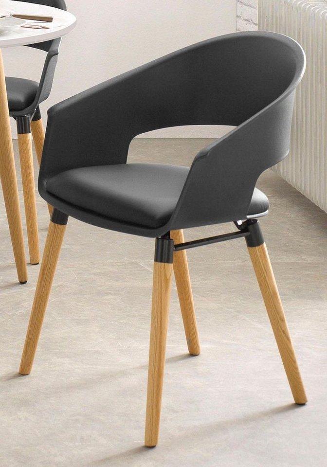 Stühle (2 Stück) in Schwarz/Eiche