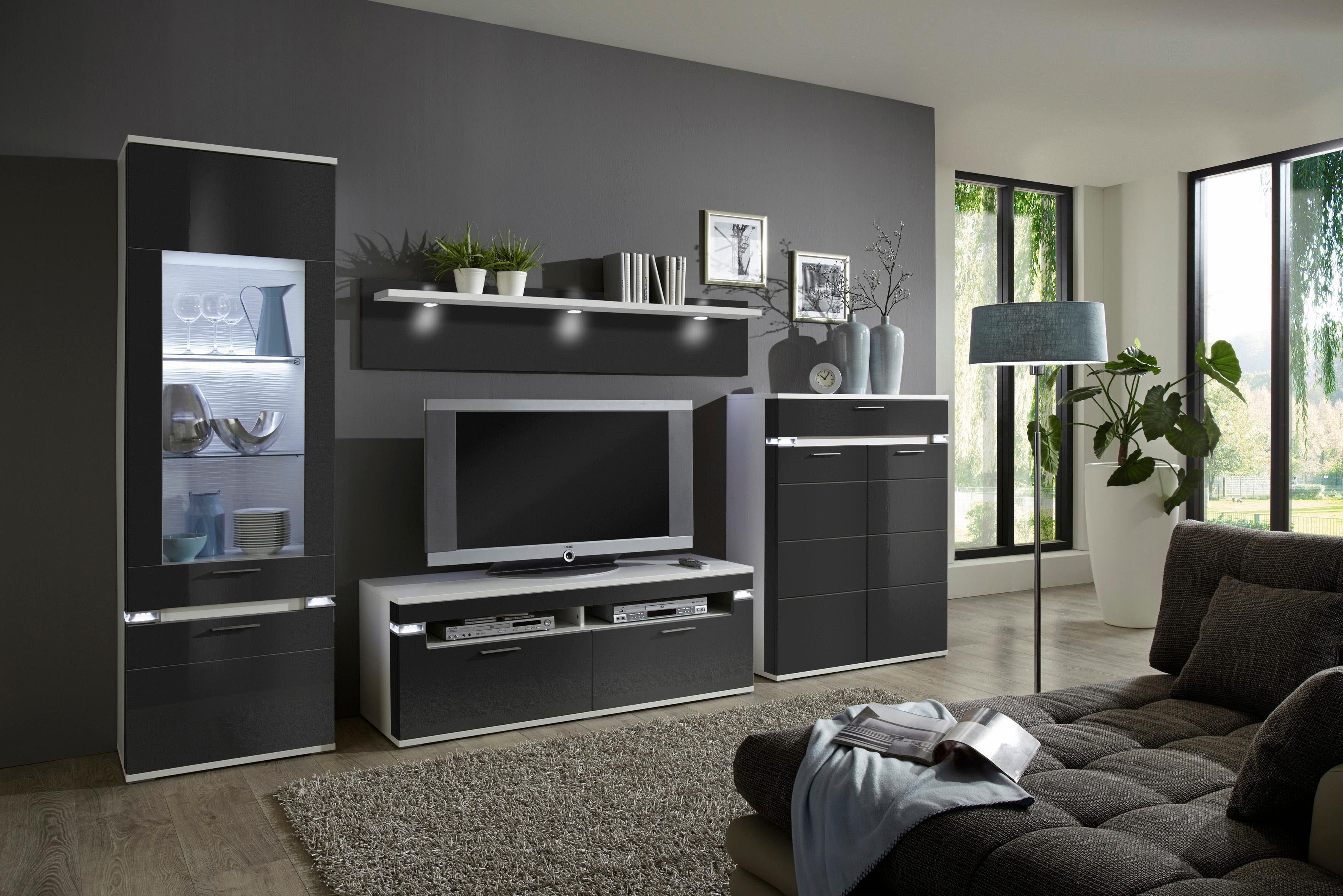 Moderne Wohnwand Style : Places of style wohnwand boa« tlg mit integrierter