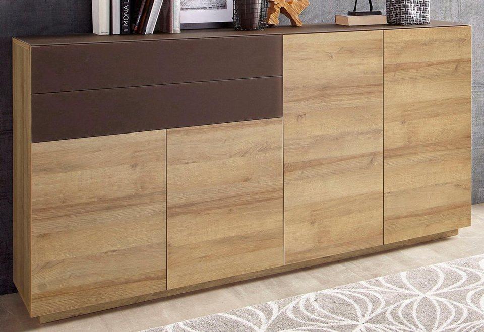 Sideboard, Breite 179 cm in eichefarben Riviera/Braunglas