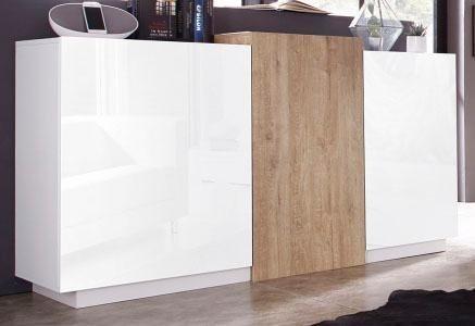 Tecnos Sideboard, Breite 150 cm in weiß Hochglanz/eichefarben Natur