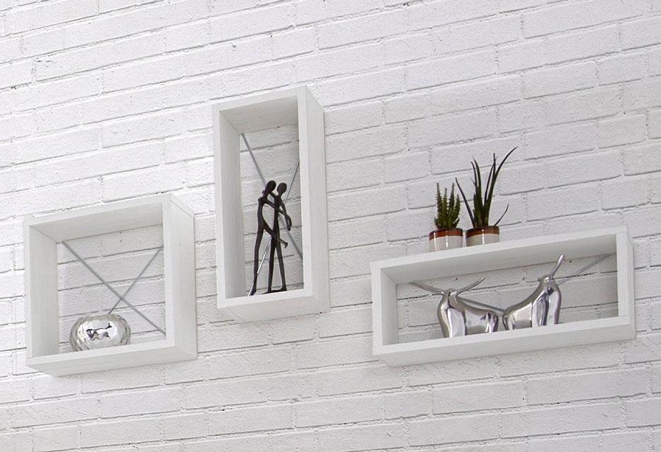 Wandregal-Set (3-teilig), Tiefe 20 cm in Piniefarben Weiß