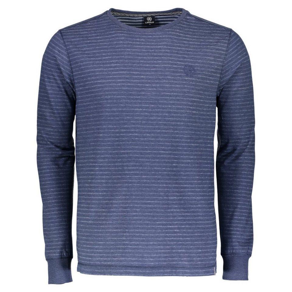 LERROS Langarmshirt in Inside-Out-Optik in VINTAGE BLUE