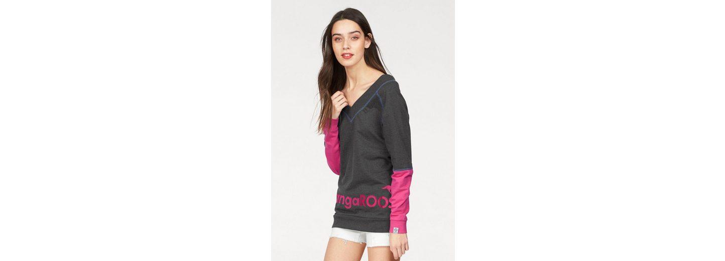 hinten mit KangaROOS KangaROOS und Sweatshirt vorne Sweatshirt Ausschnitt V tiefem zwAntndq