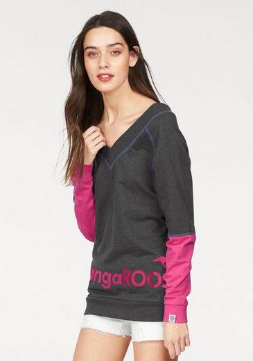 KangaROOS Sweatshirt, mit tiefem V-Ausschnitt vorne und hinten