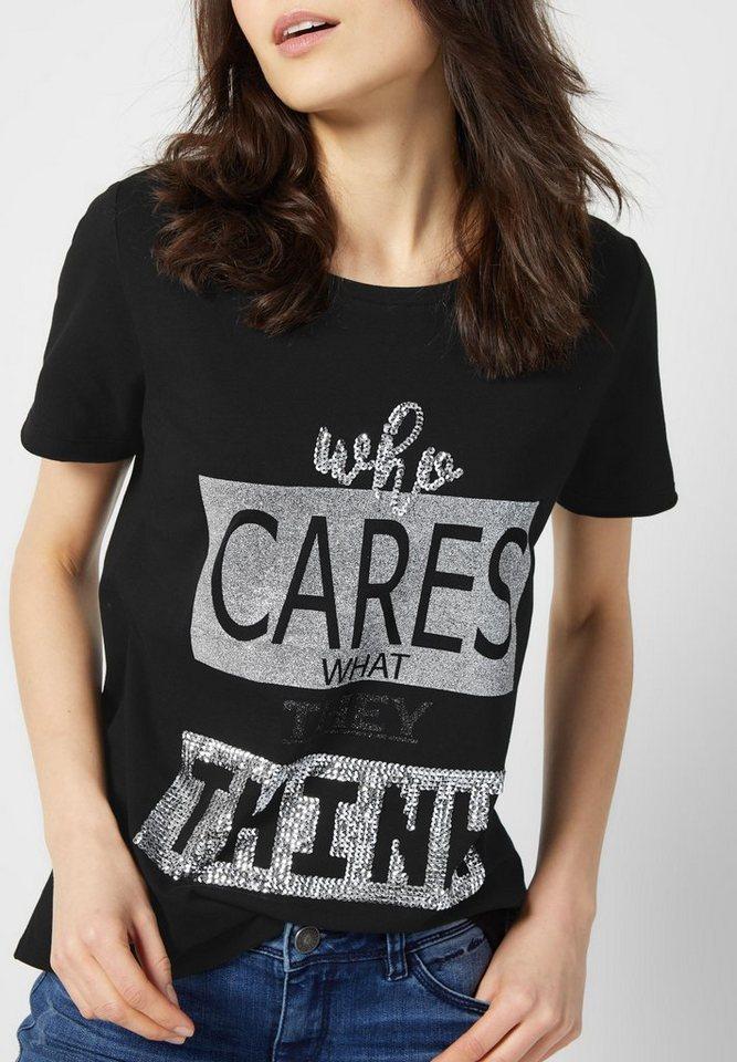 Street One Shirt mit Pailletten Talea in Black