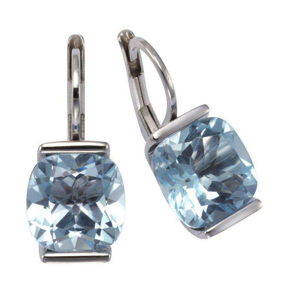 Zeeme Ohrhänger »925/- Sterling Silber Blautopas« in weiß