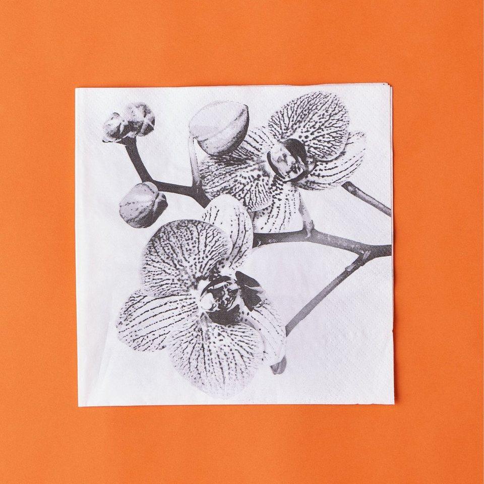BUTLERS APRÈS »Papierserviette Orchidee« in schwarz-weiss