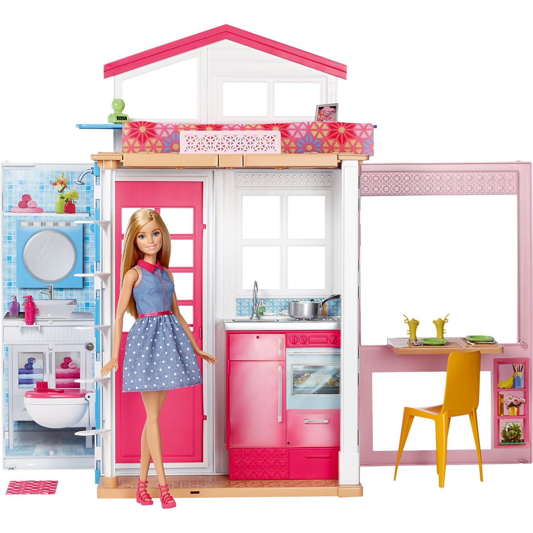 Mattel Barbie 2-Etagen Ferienpuppenhaus & Puppe