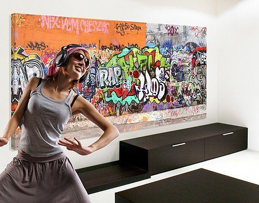 bilderwelten leinwandbild xxl graffiti kaufen otto. Black Bedroom Furniture Sets. Home Design Ideas