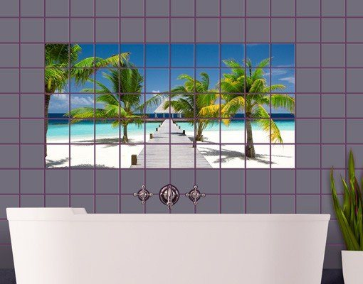 Bilderwelten fliesenbild catwalk to paradise otto for Wasserabweisende folie bad