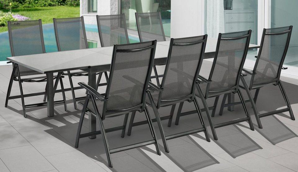 merxx gartenm belset vicenza 9 tlg 8 klappsessel tisch 110x200 cm alu textil grau online. Black Bedroom Furniture Sets. Home Design Ideas