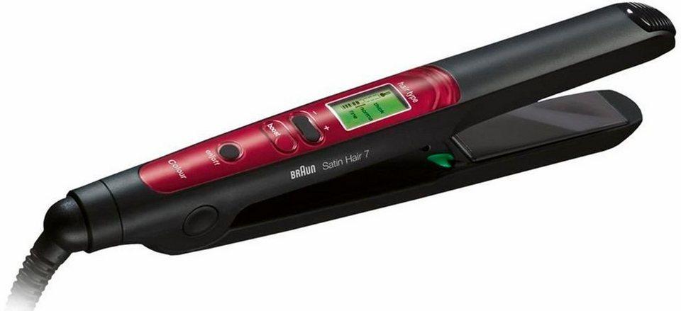 Braun Haarglätter Satin Hair 7 ST 750, mit IONTEC & Colour Saver Technologie in schwarz/rot