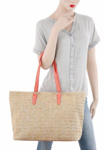 Tamaris Shopper NEVE, aus Bast mit farbigen Hänkeln