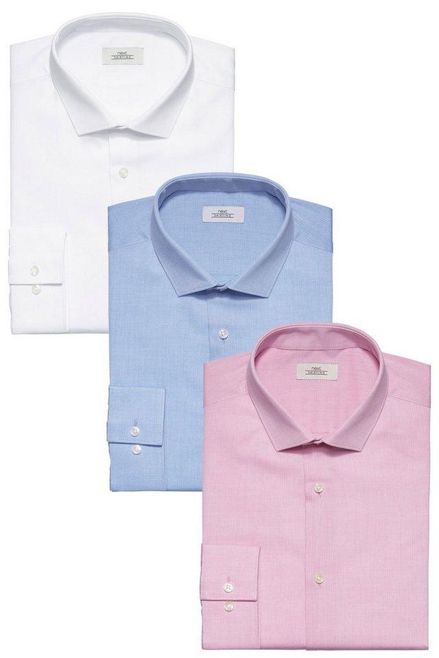 Next Strukturierte Hemden, weiß, blau und rosa, 3er-Pack 3 teilig in White Slim-Fit