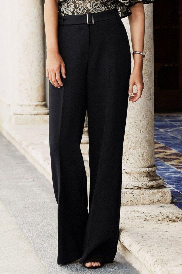 Next Strukturierte Hose mit weitem Bein in Black