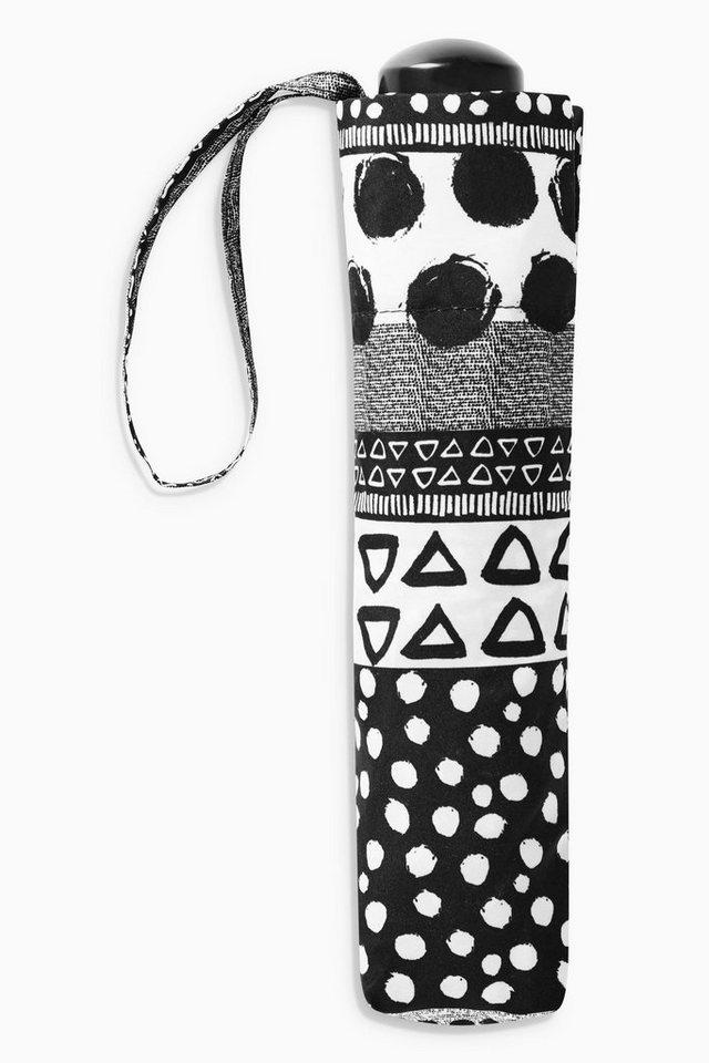 Next Gemusterter Regenschirm in Black