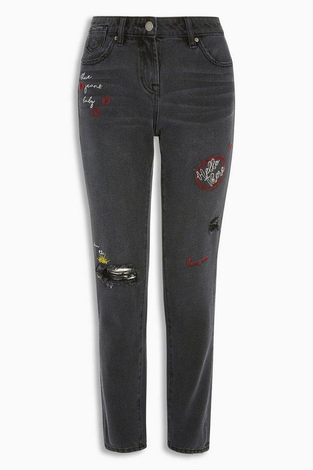 Next Boy-Fit-Jeans mit Stickereien in Black