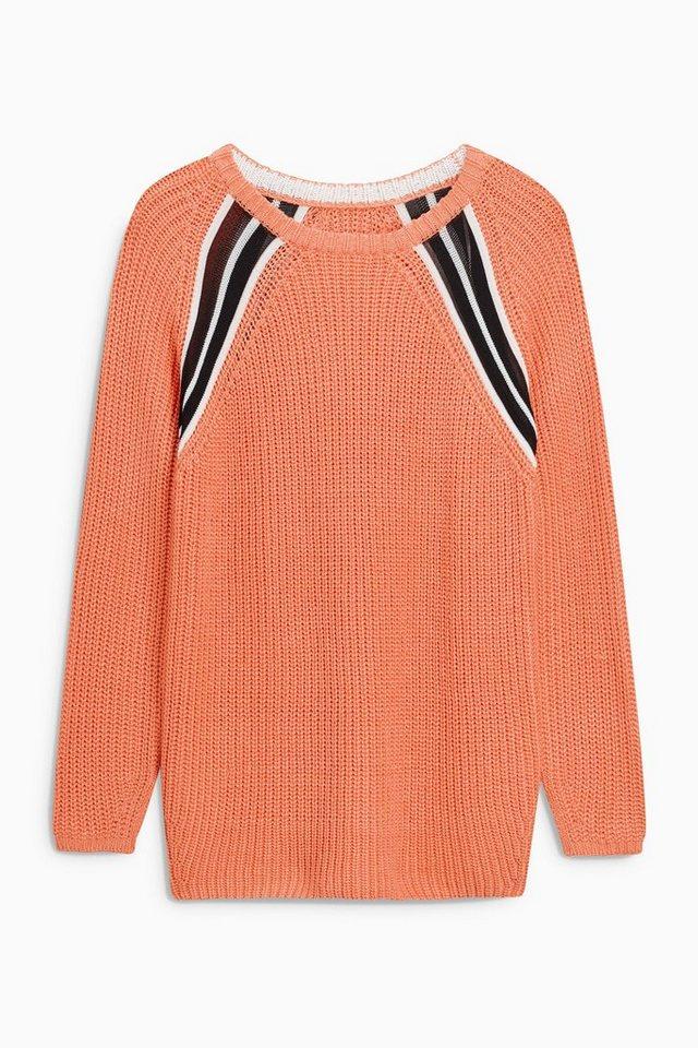 Next Cricket-Pullover mit Kontrastdetails in Orange