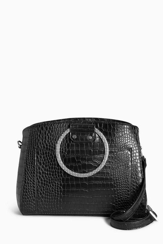 Next Handtasche mit Ring und Kroko-Optik in Black
