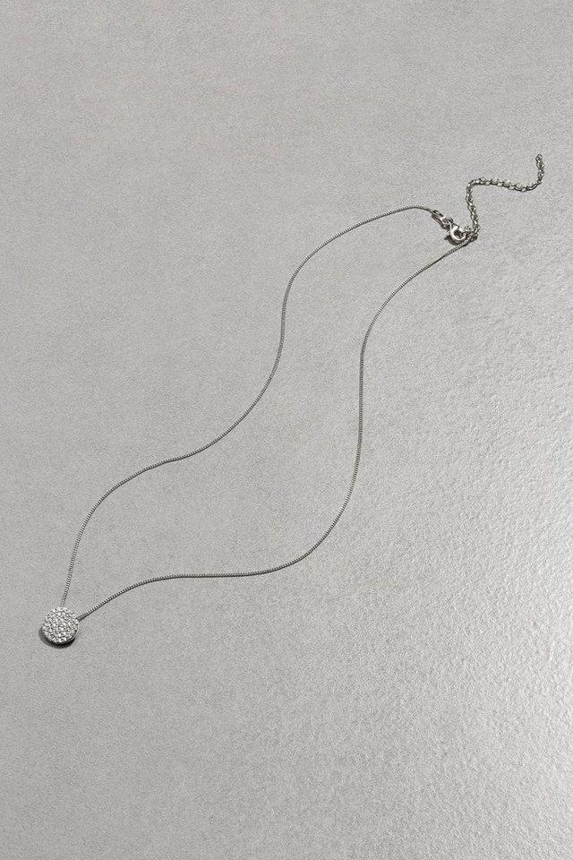 Next Halskette mit rundem Strassanhänger in Sterling Silver
