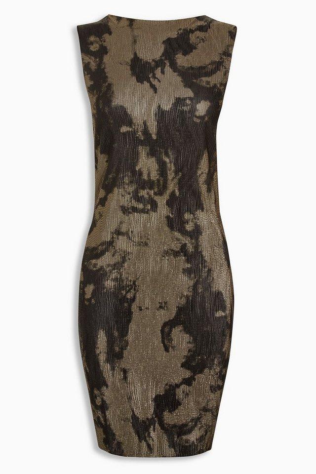 Next Bedrucktes Kleid in Metallic-Optik in Black