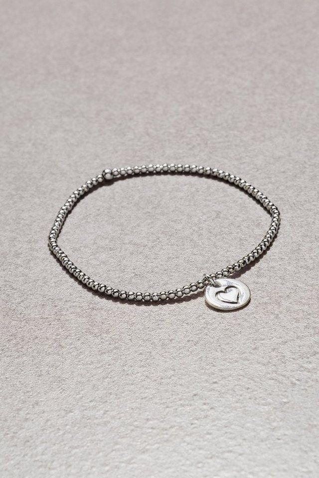 Next Armband in Perlenoptik mit Herz-Charm in Silver